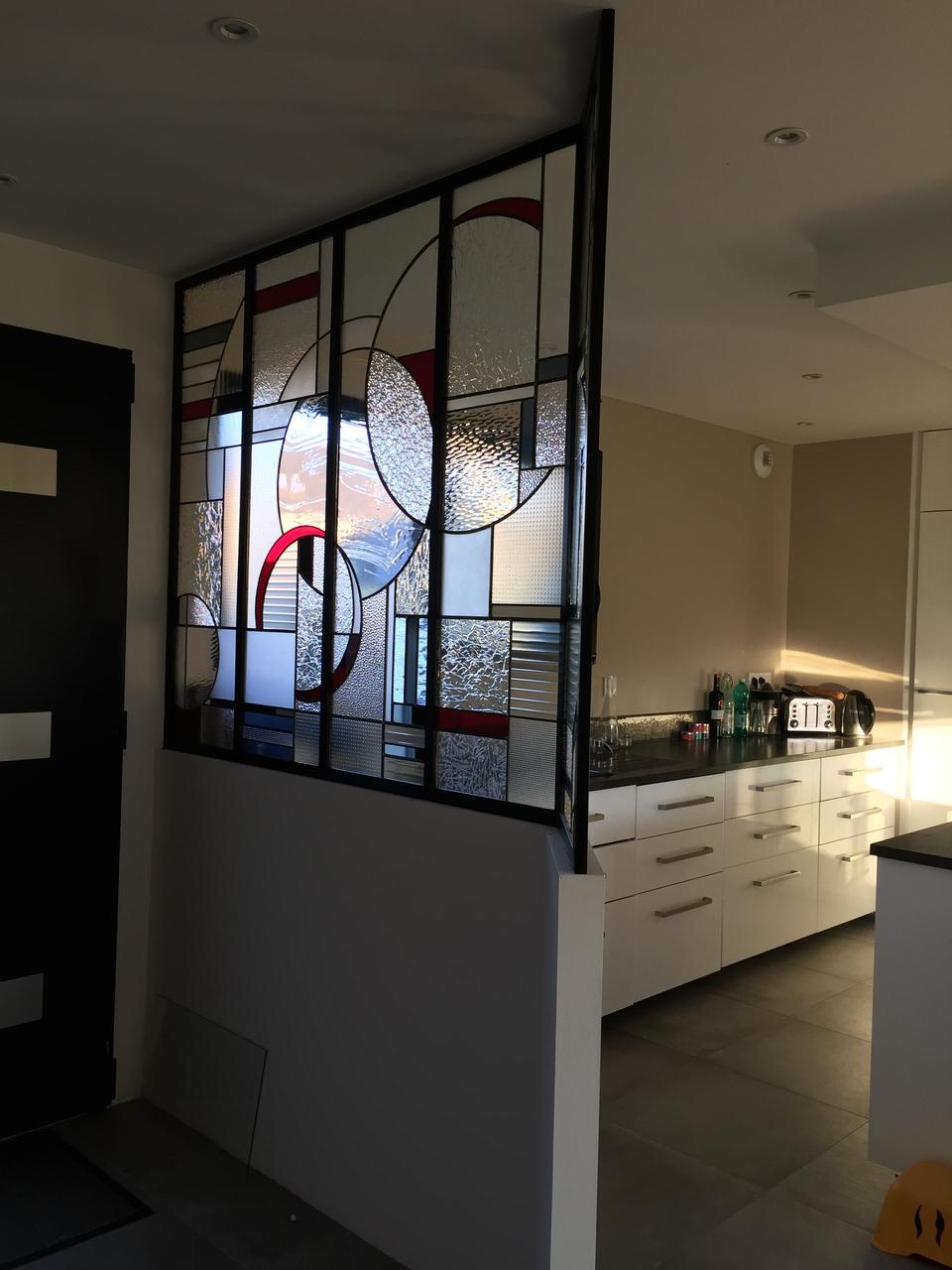 Verre De Separation Salle De Bain verre vitrail contemporain épuré verrière atelier art déco