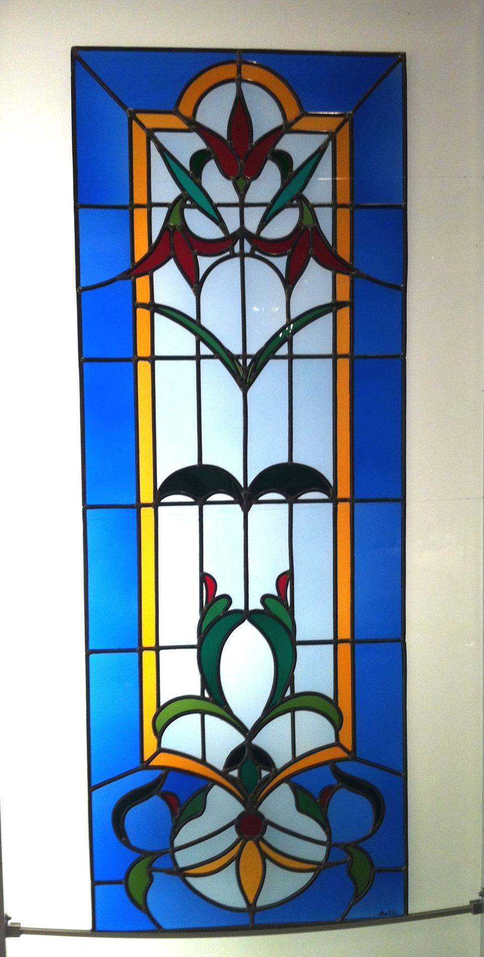 Art vitrail cr ation fleurs v g taux couleur transparence for Art nouveau fenetre